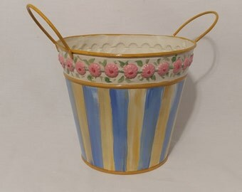 Blue and Yellow Stripe Planter