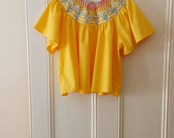 Summer SALE !!! Patchwork Yellow cotton smock top / Size UK 10-12