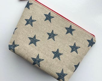 Cosmetic Bag, Makeup Bag, Toiletry Bag, Stars, Stripes, Blue Stars