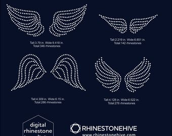 Wings rhinestone templates digital download, svg, eps, png, dxf