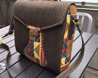 Colour-Block African Print on Denim Square Bag with Long Strap
