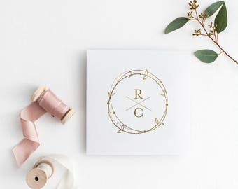 Gold Printable Wedding monogram, wedding initials monograms, monogram logo, wedding logo, DIY wedding, Rustic Monogram, Wreath