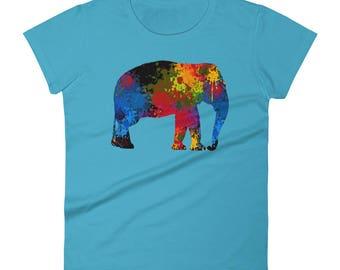 Elephant Art Colorful Rainbow Paint Mandala India Africa Animal Elephant Lover Women's Elephant Shirt