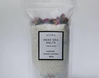 Bath Salts - Dead Sea Salts, Kaolin Clay and English Roses - 520g Natural Handmade