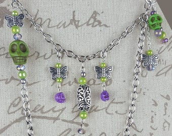 Skulls and Butterflies Oh My!!!  Necklace and Earrings set.