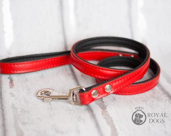 Personalized Leather Red Dog Lead   Soft Leather Dog Lead   Red & Black Dog Leash   Hand Painted Dog Lead  