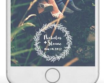 Snap Chat Wedding filter- Wedding Custom Snapchat Filter, Wedding Geofilter Snapchat, Personalized Wedding Filter, Rustic, Laurel