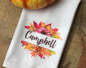 Kitchen towel, fall towel, thanksgiving towel, personalized towel, fall decor, thanksgiving decor, kitchen decor, personalized kitchen towel
