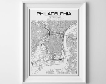 Philadelphia Map Etsy - Philadelphia on us map