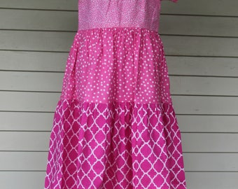Pretty in Pink Peasant Dress with Patchwork Ruffle (size 5)