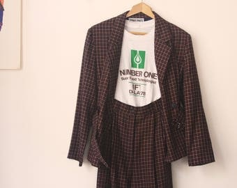 Smart Pants / 70s Synthetic Plaid Herringbone Suit Pant Suit with Button Belted Jacket and Trousers / Matching Set / Womens XS - S Size 4