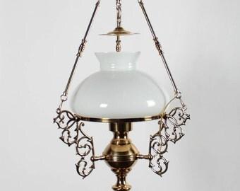 Ornate Arabian-Motif Brass Chandelier
