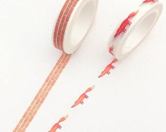8mm Thin Washi Tape - Brick / Fox Japanese Stationery Masking Tape Set Deco Tape