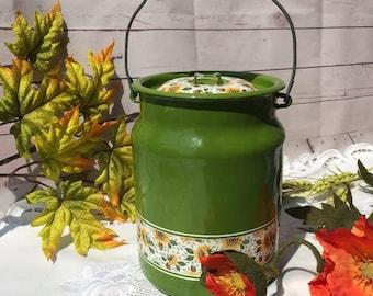 Soviet vintage enamel green carrier, Enamel from USSR, Milk can, Water pot, Kitchen and Garden decor, Soviet style of 1970-s, Farm style