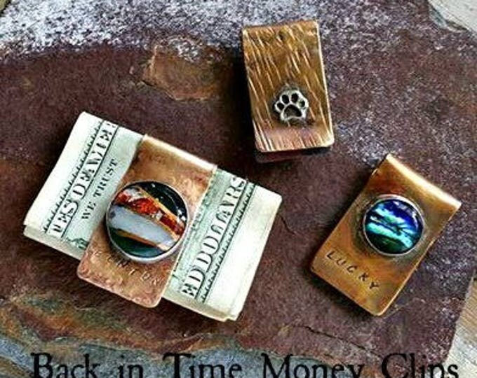 Back in Time Memorial Money Clip, Ashes in Glass,Pet Memorial, Pocket Pieces, Gifts for Guys