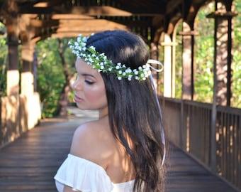 Baby's breath halo, baby's breath crown, Wedding Flower Crown, flower crown, flower headband, wedding flower crown, bridal headband