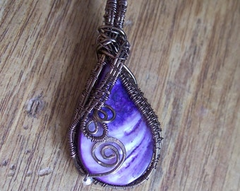 Wire Wrapped Copper & Shell Pendant Wire Jewellery Freeform Spiral Weave