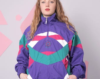 90s windbreaker size XS, retro vintage colorblock jacket, colorful purple pullover windbreaker
