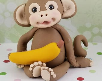 Fondant Edible Monkey Baby 1st Birthday Boy Girl Cake Topper