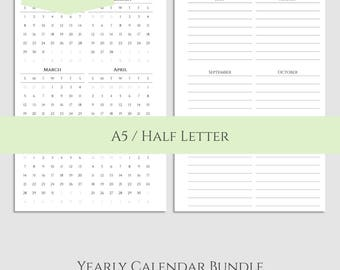 "Yearly Calendar Bundle ~ 2017 and 2018 Year-at-a-Glance & Important Dates to Remember, Birthday Tracker ~ A5 / 5.5"" x 8.5"" Instant Download"