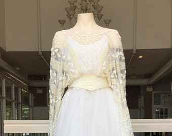 Vintage Wedding Gown with Detailed Sheer Layer #907