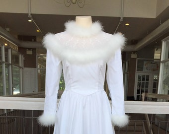 Vintage Fur Lined Wedding Gown