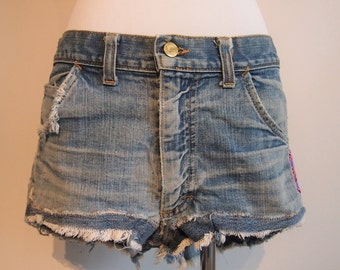 1960's Lee Distressed High Waisted Shorts with Capricorn Patch; Vintage Denim Shorts; Distressed Shorts