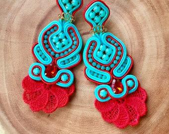 Soutache, Gypsy Earrings, Stud Earrings Soutache, Soutache Earrings, Jewelry, Multicolor Earring, Earrings, Soutache Jewelry