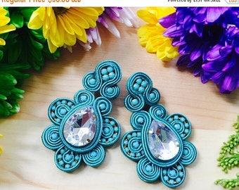 ON SALE Soutache/ Handmade earrings/ Boho chic earrings/ women earrings/blue earrings/ Stud earrings/Soutache earrings/Soutache