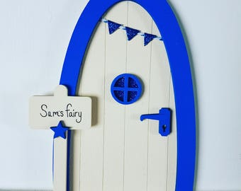 Personalised, Royal Blue and Cream Sparkly Fairy door, Magical Imaginative Play, Gifts for Girls and Boys