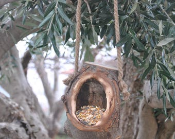 Wooden bird feeder, bird feeder, garden decoration, bird feeder to hang