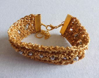 Crocheted Golden Christmas Bracelet with Silver Beads