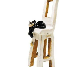 Black Cat on White Chair | Cat Lovers Gift | Quirky Ornament | Hand Made Ceramic Cat Figurine