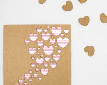 Flock of Hearts Valentines Day Card - Laser Cut - Paper Cut Handmade - For Him - For Her - Boyfriend - Girlfriend - Wife - Husband