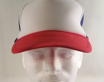 80s STRANGER THINGS Dustin Henderson Dupe Red White Blue Trucker Hat Snapback Cap Gaten Matarazzo Duffy Brothers Lookalike Halloween Costume