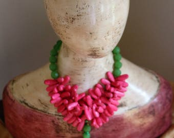 Pink and Green Cross Necklace