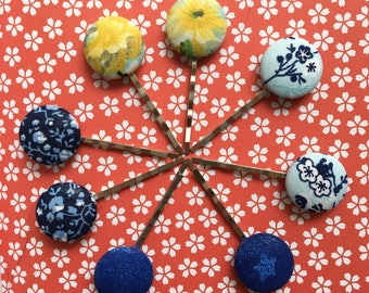 Fabric Covered Button Hair Pins | Floral Button Hair Pins | Hair Pin | Fabric Bobby Pins | Set of 2 Hair Pins