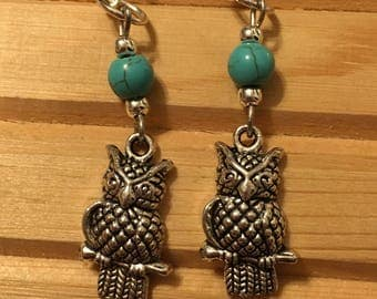 Silver Owl and Turquoise Earrings
