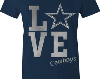 FOOTBALL WOMENS T-shirt COWBOYS Cowboy Fan T-shirt Personalized Football Shirt Custom Sport Tshirt Dallas Football Game glitter silver Dax