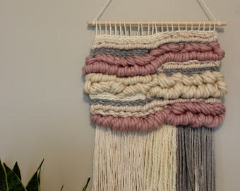 Neutral Pink, Cream & Grey Woven Wall Hanging