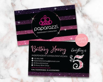 Paparazzi Business Cards, Free Personalized, Paparazzi Jewelry Consultant Card, Ombre Glitter, For Vistaprint or Home Printing