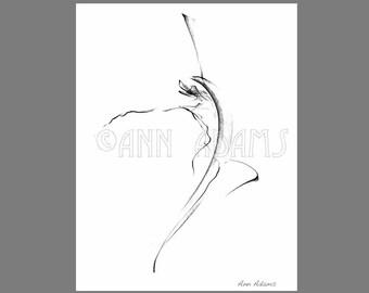 010 Abstract Art, Dancing Figure drawing Gesture movement, Pencil sketch, Ink Print from My Original Artwork by Ann Adams