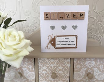 Th anniversary card silver foil luxury anniversary