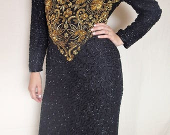 Vintage 80s Scala beaded and sequined gown