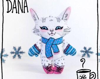 Dana the Winter Cat -plush cat doll  - soft stuffed animal toy made from fun illustration