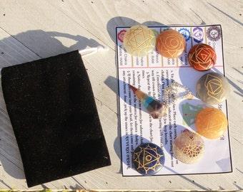7 Chakra Stones Set And Pendulum Healing Crystals and Stones 7 Chakra crystal set reiki crystal  kit balancing set healing stones chakra set