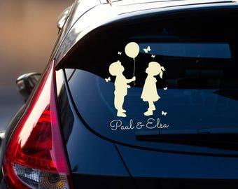 Car Decal Sticker Rear Window Children Name M2196