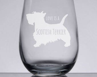 Scottish Terrier Stemless Wine Glass, Etched Wine Glass, Custom Dog Glass, Pet Gift, Love My Scottie, Sandblasted, Engraved Wine Glass
