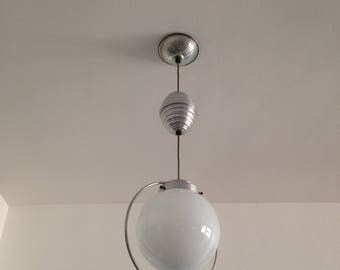 Hanging ball/globe - opaline - rise and fall - vintage - space age