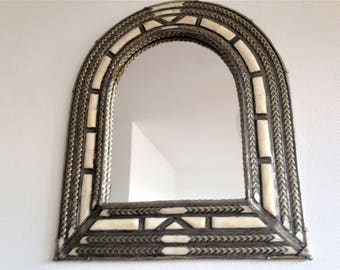Large mirror fitted - bone, silver metal, turquoise, Velvet - Morocco Berber, East - vintage